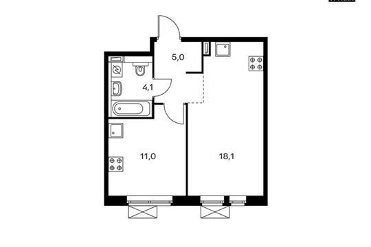 1-комн квартира, 38.2 м<sup>2</sup>, 12 этаж_1