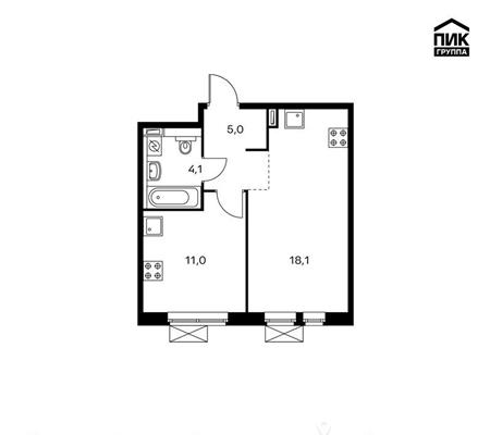 1-комнатная квартира, 38.2 м<sup>2</sup>, 12 этаж_1
