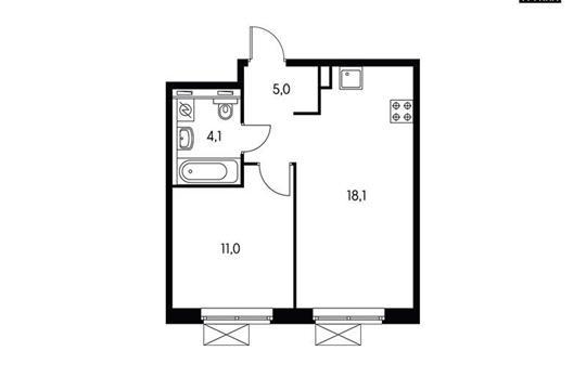 1-комн квартира, 38.2 м<sup>2</sup>, 15 этаж_1