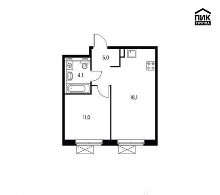 1-комнатная квартира, 38.2 м<sup>2</sup>, 15 этаж_1