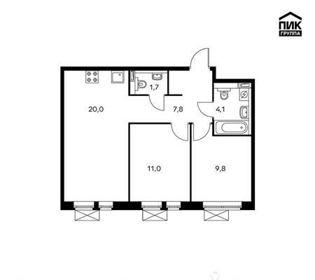 2-комнатная квартира, 54.4 м<sup>2</sup>, 15 этаж_1