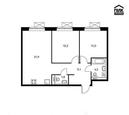 2-комнатная квартира, 60.2 м<sup>2</sup>, 10 этаж_1