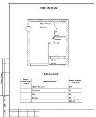 1-комн квартира, 41 м2, 13 этаж - фото 1