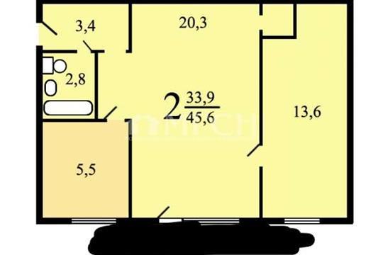 2-комн квартира, 46.2 м2, 1 этаж