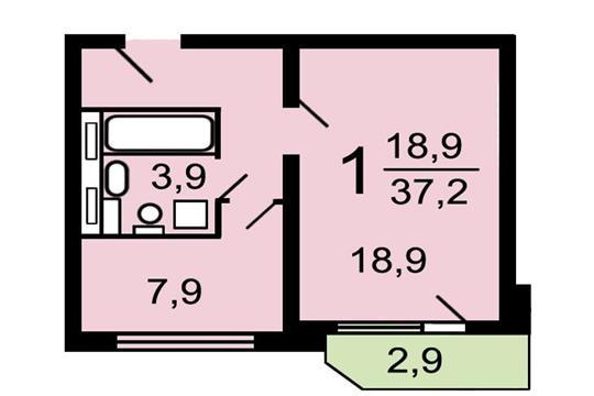 1-комнатная квартира, 37 м2, 9 этаж