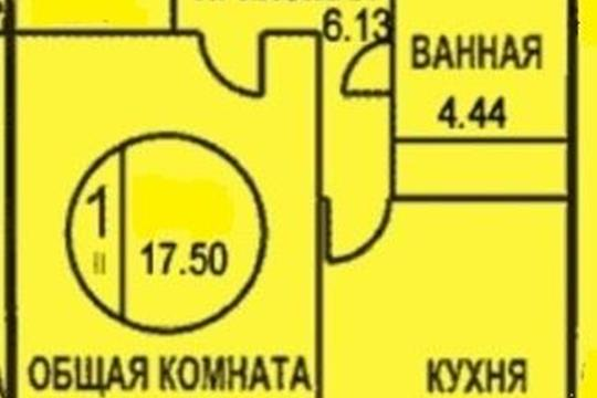 1-комнатная квартира, 41 м2, 9 этаж