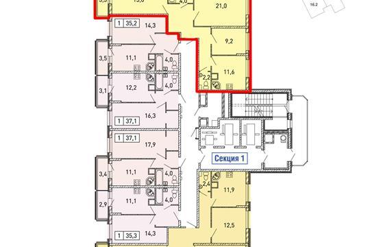 3-комнатная квартира, 78.2 м2, 3 этаж