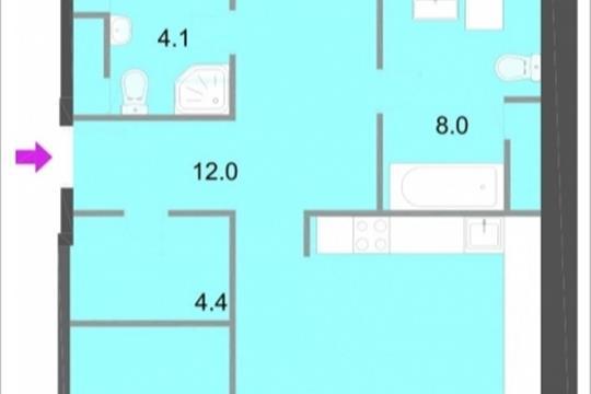 3-комнатная квартира, 113.3 м<sup>2</sup>, 19 этаж