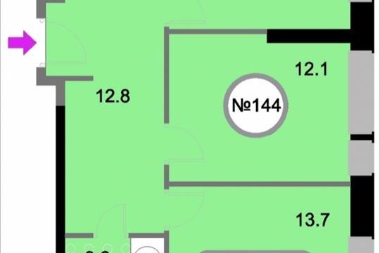 2-комнатная квартира, 58.2 м<sup>2</sup>, 19 этаж