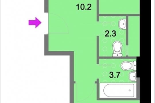2-комнатная квартира, 59.8 м<sup>2</sup>, 13 этаж