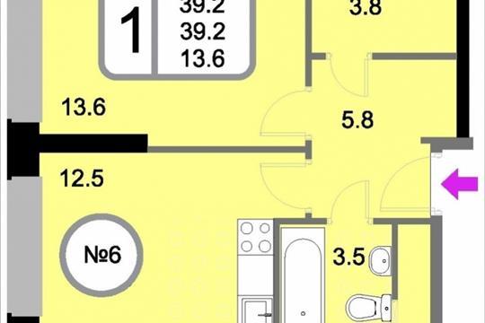 1-комнатная квартира, 39.2 м<sup>2</sup>, 2 этаж