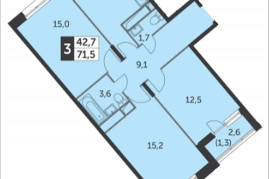3-комнатная квартира, 71.5 м<sup>2</sup>, 14 этаж