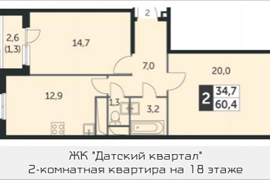 2-комнатная квартира, 60.4 м<sup>2</sup>, 18 этаж