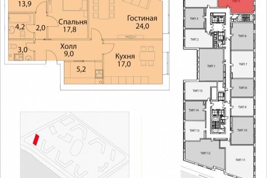 3-комнатная квартира, 95.9 м<sup>2</sup>, 20 этаж