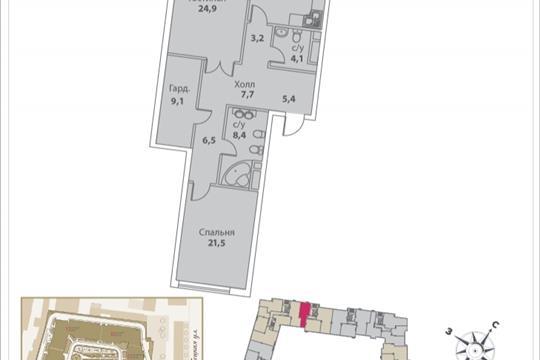 2-комнатная квартира, 111.9 м<sup>2</sup>, 10 этаж