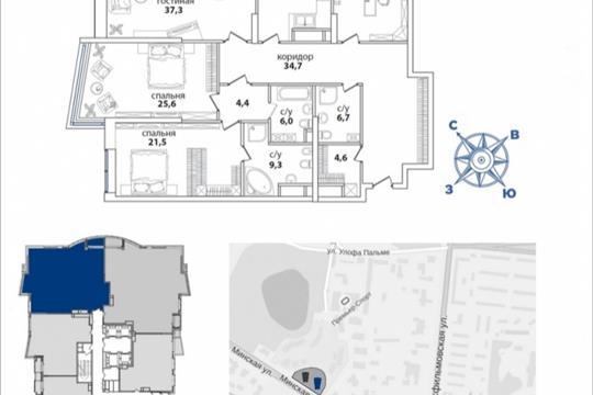 4-комнатная квартира, 193.1 м<sup>2</sup>, 33 этаж