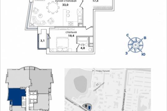 2-комнатная квартира, 111.6 м<sup>2</sup>, 27 этаж