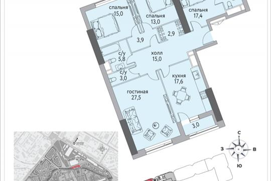 4-комнатная квартира, 132.1 м<sup>2</sup>, 6 этаж