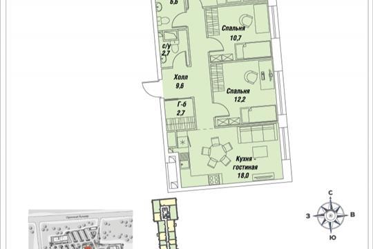 3-комнатная квартира, 76.2 м<sup>2</sup>, 4 этаж