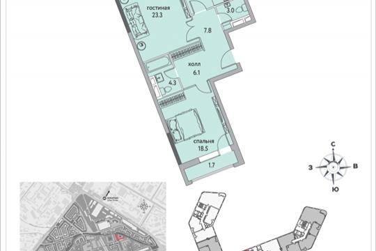 2-комнатная квартира, 80.2 м<sup>2</sup>, 2 этаж