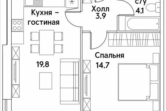 1-комнатная квартира, 42.5 м<sup>2</sup>, 2 этаж