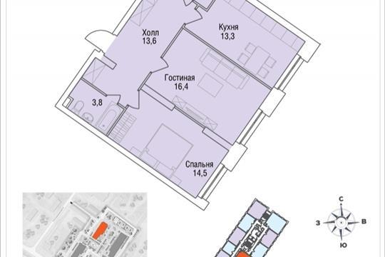 2-комнатная квартира, 64.8 м<sup>2</sup>, 4 этаж