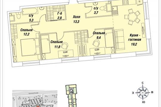 3-комнатная квартира, 77.8 м<sup>2</sup>, 13 этаж