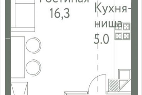1-комнатная квартира, 25.6 м<sup>2</sup>, 4 этаж