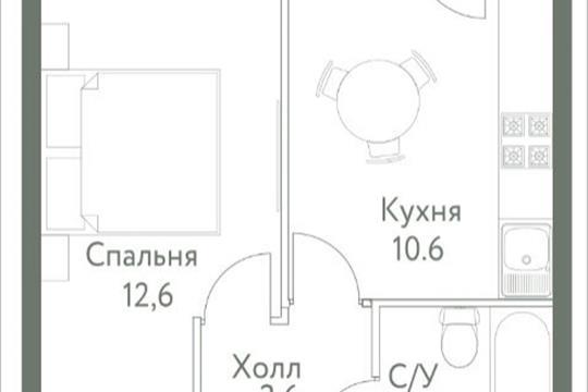 1-комнатная квартира, 31.6 м<sup>2</sup>, 7 этаж