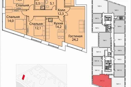 4-комнатная квартира, 110.2 м<sup>2</sup>, 18 этаж