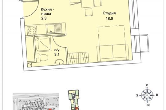 1-комнатная квартира, 24.3 м<sup>2</sup>, 21 этаж