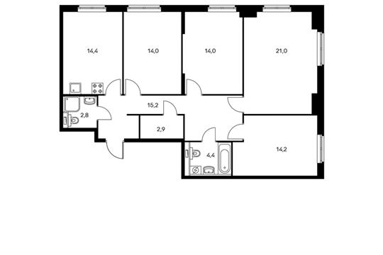 4-комнатная квартира, 101.6 м<sup>2</sup>, 15 этаж