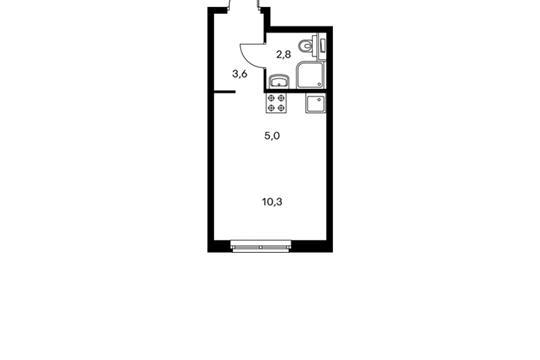 1-комнатная квартира, 21.6 м<sup>2</sup>, 5 этаж