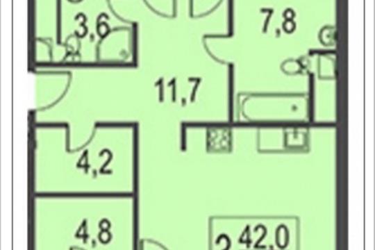 3-комнатная квартира, 116.1 м<sup>2</sup>, 9 этаж