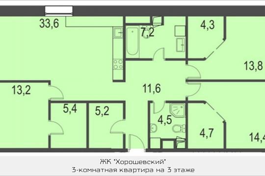 3-комнатная квартира, 119.5 м<sup>2</sup>, 3 этаж