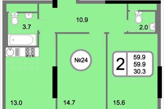 2-комнатная квартира, 59.9 м<sup>2</sup>, 6 этаж