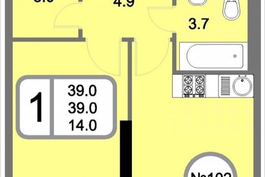1-комнатная квартира, 39 м<sup>2</sup>, 22 этаж