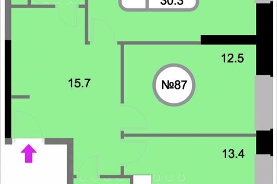 2-комнатная квартира, 65.5 м<sup>2</sup>, 12 этаж
