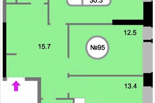 2-комнатная квартира, 65.5 м<sup>2</sup>, 13 этаж