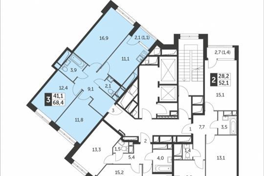 3-комнатная квартира, 68.4 м<sup>2</sup>, 11 этаж
