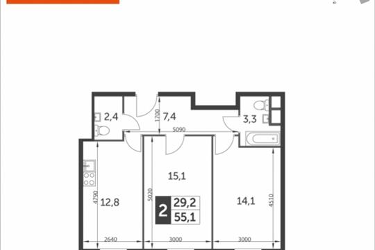 2-комнатная квартира, 55.1 м<sup>2</sup>, 9 этаж