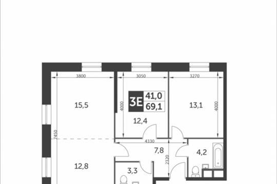 3-комнатная квартира, 69.1 м<sup>2</sup>, 9 этаж