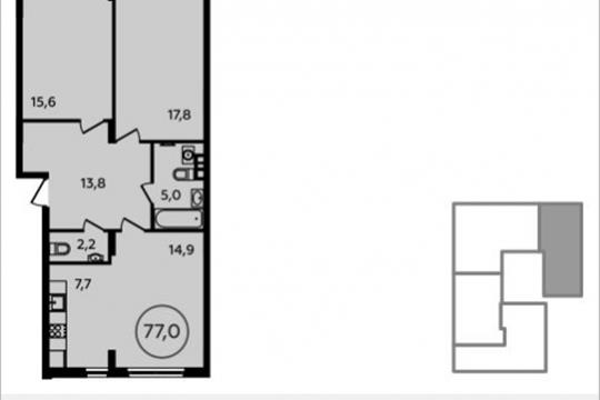 3-комнатная квартира, 77 м<sup>2</sup>, 2 этаж