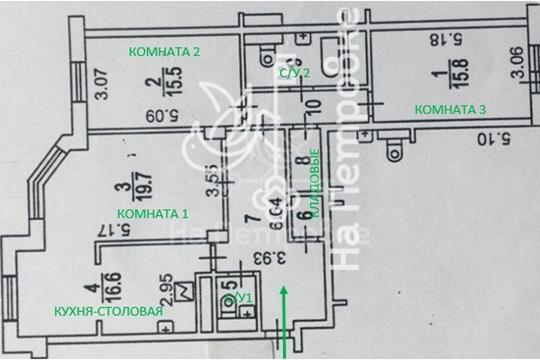 3-комнатная квартира, 97.3 м<sup>2</sup>, 4 этаж