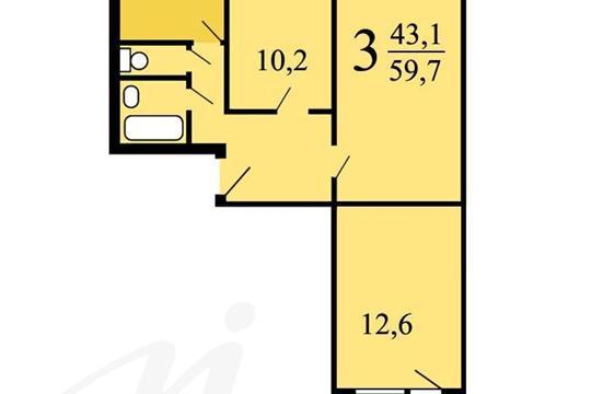 2-комнатная квартира, 59.7 м<sup>2</sup>, 5 этаж