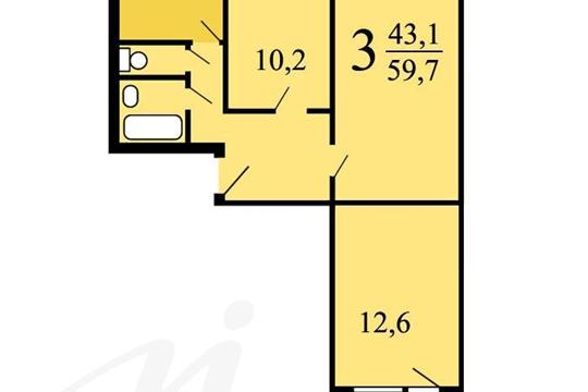 3-комн квартира, 59.7 м2, 5 этаж