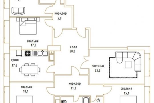 5-комнатная квартира, 165.9 м<sup>2</sup>, 3 этаж