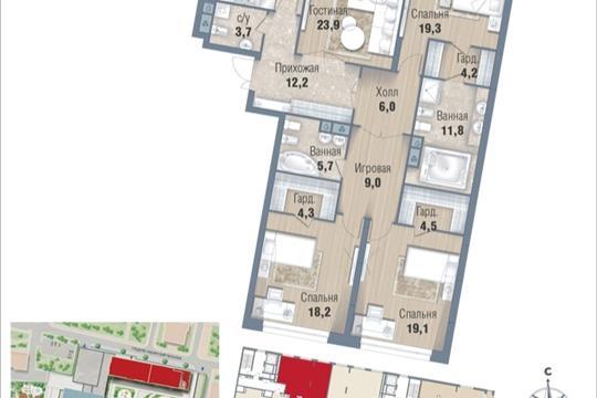4-комнатная квартира, 158.9 м<sup>2</sup>, 2 этаж