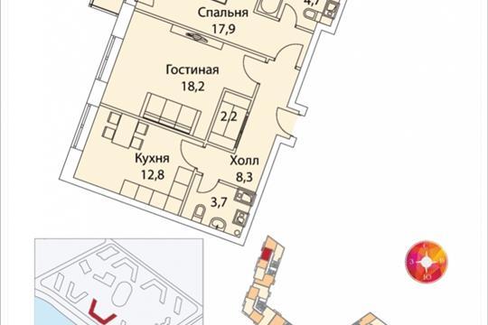 2-комнатная квартира, 71.4 м<sup>2</sup>, 18 этаж