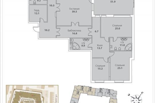 5-комнатная квартира, 303.5 м<sup>2</sup>, 2 этаж